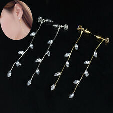 1 Pair Womens Lady Leaf Crystal Rhinestone Dangle Stud Earrings Eardrop Jewelry
