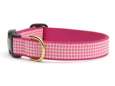 Any Size - UP COUNTRY - Made In USA - Designer Dog Collar - Pink Gingham