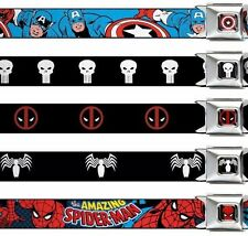 "Seat Belt Buckle XL 1.5"" x 32-52"" Marvel Comics Punisher Deadpool Hulk"