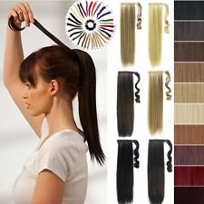 Human Made Fake Clip In Thick Hair Extensions Wrap Around Ponytail Pony Tail VG1