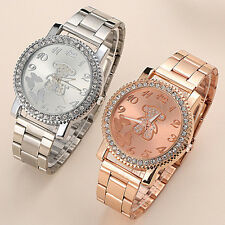 Lady Womens Bling Crystal Bear Stainless Steel Quartz Wrist Watch Analog Luxury