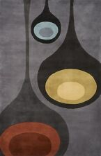 Momeni New Wave 129 Steel Area Rug Modern Contemporary Wool All Sizes