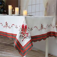 Hot Christmas Bell Cutwork Embroidery Satin Engineered Print Fabric Tablecloth