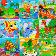 Wooden Kids Animal 16 Piece Jigsaw Toys For Children Education Learning Puzzles