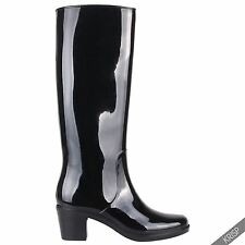 US Womens Mid High Heeled Waterproof Tall Wellington Rain Boots Wellies