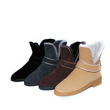 UK Size Brand Suede Slip on Block Low Heel Shoes Ankle Women's Snow Boots H1048