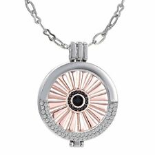 DIY MY Coin Mi Crystal CZ Disc Locket Pendant Necklace Friends Gift Hot