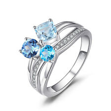 JewelryPalace 1.7ct  Swiss London Blue Topaz 3 Stones Ring 925 Sterling Silver