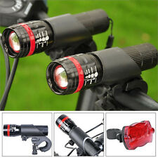 2 x XML Q5 LED Bicycle Cycling Torch Head Lamp Flashlight Set + Rear Tail Light