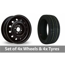 "4 x 14"" Steel Wheels 6215 Black Alloy Wheel Rims and Tyres -  185/60/14"