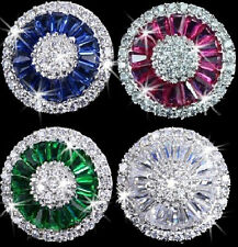 RUBY SAPPHIRE or EMERALD Step Cut Micro Pave Set Signity Cz HALO Stud Earrings