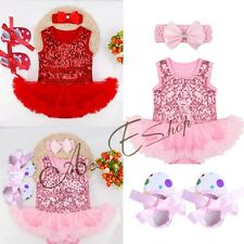 3PCS Infant Girls 1st Birthday Baby Romper Tutu Skirt Flower Headband Outfit Set