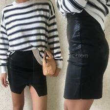 Sexy Women Lady PU Leather Skirt Bodycon Short Tight Mini Skirt Party Club S8I3