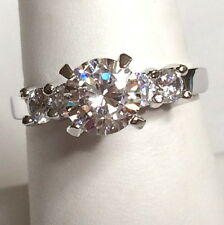 Silver Rhodium Plated Cubic Zirconia Engagement Ring 3 Carat Size 9 10 USASeller