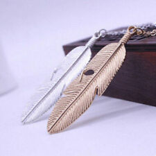 Long Vintage Pendant Necklace Statement Chain Jewelry Feather Women Sweater