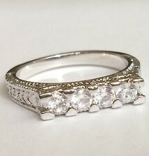 Silver Rhodium Plated Cubic Zirconia Deco Anniversary Ring Stackable Size 9 10