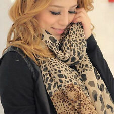 Fashion Women's Long Soft Wrap Lady Shawl Silk Leopard Chiffon Scarf Shawl New