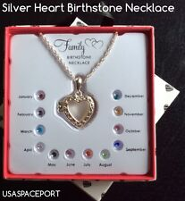 """Family Mothers Birthstone 18"""" Silver Chain Necklace Heart Pendant +12 Stones Set"""