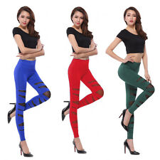 Stretch Sexy Women Bandage Cross Strap Mesh Pants Tight Leggings Slim Trousers