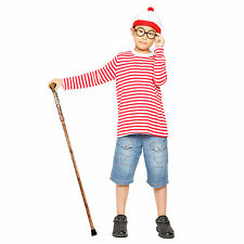 Boys Kids Wheres Wally Book Week Christmas Cosplay Fancy Dress Costume Age 7-12