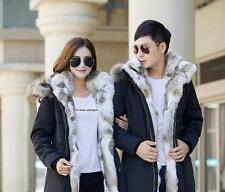New Men's Fleece Jacket Winter Fur Hooded Duck Down Coat Parka Outerwear @@