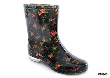 Ladies Short Floral / Flower Print Wellies Wellington Boots