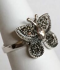 Sterling Silver Marcasite Butterfly Cocktail Ring Insect 925 Size 6 8 USA Seller