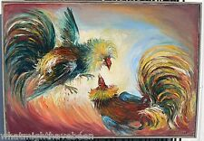 E. Cazeres Mexico 20th C. O/C Painting Fancy Foul Cock Fighting