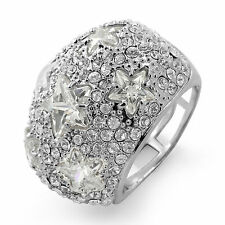 Round Cubic Zirconia Star Anniversary Fashion Wedding Band Ring Sterling Silver