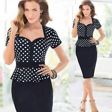 Rockabilly Polka Dot Stretch Bodycon Peplum Women Formal Party Pencil Dress Slim