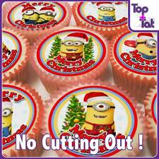 PRE-CUT 24 X DESPICABLE ME MINION CHRISTMAS EDIBLE PARTY CUP CAKE WAFER TOPPERS