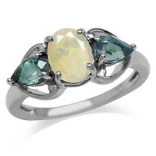 Opal&Color Change Alexandrite Doublet White Gold Plated 925 Sterling Silver Ring