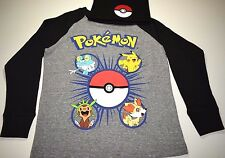 New Pokemon shirt long sleeve with Pokeball beanie hat boys sizes XS S M L XL