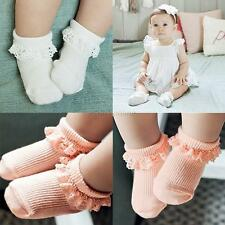 Toddler Princess Girls Soft Cotton Socks Sweet Lace Ruffle Frilly Ankle Socks