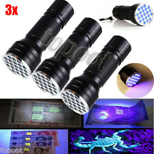 3PC 21 LED 395 nM UV Ultra Violet Blacklight Flashlight For CSI Inspection Light