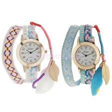 Christmas Xmas Party Gift Weaving Feather Round Wristwatch Bracelet Strap Watch