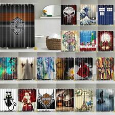 SHOWER BATHROOM CURTAIN SOFT WATERPROOF POLYESTER WITH 12 HOOKS/RINGS EASY CLEAN