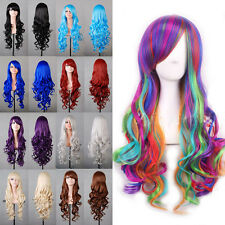 Fashion Women's Layered Wavy Long Full Wigs With Bangs Cosplay Lolita Party