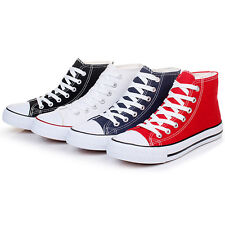 Women's  High-top Lace Up Canvas Casual Flat Sneakers Plimsoll Causal Shoes