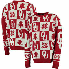 Oklahoma Sooners Patches Ugly Pullover Sweater - Crimson - NCAA