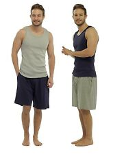 Mens Cotton Jersey Vest & Lounge Shorts Set / Pyjamas / PJ Set / Loungewear