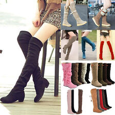 Women Ladies Over Knee Thigh High Low Heel Flat Slouch Faux Suede Boot Shoes Hot