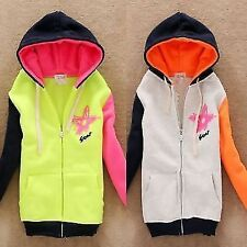 Color Blocking Star Pattern Letter Zip Up Womens Hoodies Outwear Sweats Pockets