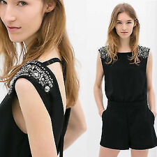 Night Club Backless Beads Women's Romper Jumpsuit Overalls Playsuit Shorts Pants