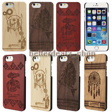 Emboss Carved Genuine Real Natural Wooden Bamboo Back Case Cover For iPhone 6/6s
