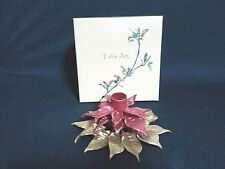 Table Art 2 TIRED POINSETTIA CANDLE STICK HOLDER (METAL)