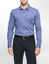 calvin klein mens infinite cool slim fit patch pocket dobby shirt