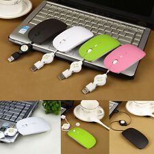 Retractable Wire Mini Slim USB Optical Scroll Mouse Mice for Computer Desktop PC