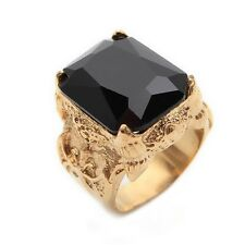 Stainless Steel Golden Onyx Cool Mens Ring Size 8 9 10 11 R302
