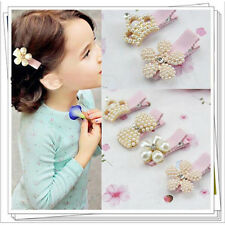 New Baby Girl Pearl Rhinestone Bowknot Hair Clip Crown Flower Cute Girl Hairpin